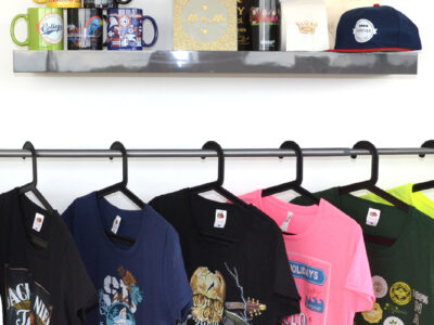 Rail and shelf of printed products