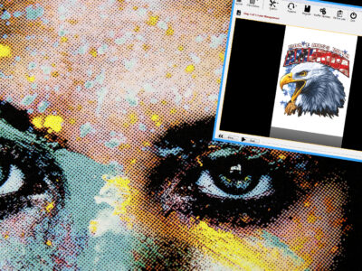 Melco Embroidery Machine Transfer RIP Software screenshot and print of woman's eyes