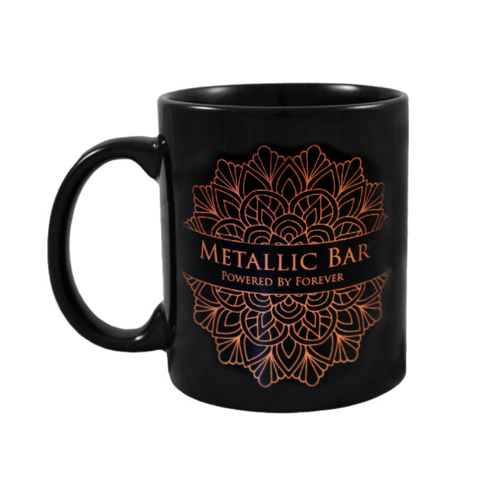Black Mug with design made with Forever Transfers Multi-Trans Metallic Bronze Paper