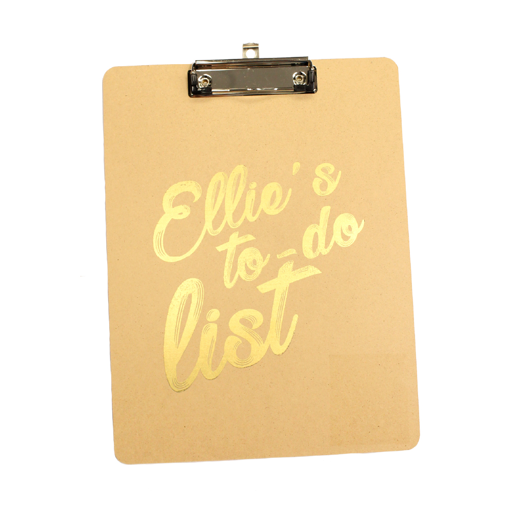 Clip Board with personalised design made with Forever Transfers Multi-Trans Select Gold Paper