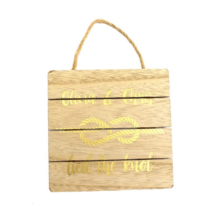 Wooden hanging plaque with personalised gold design made with Forever Multi-Trans Select Gold Paper