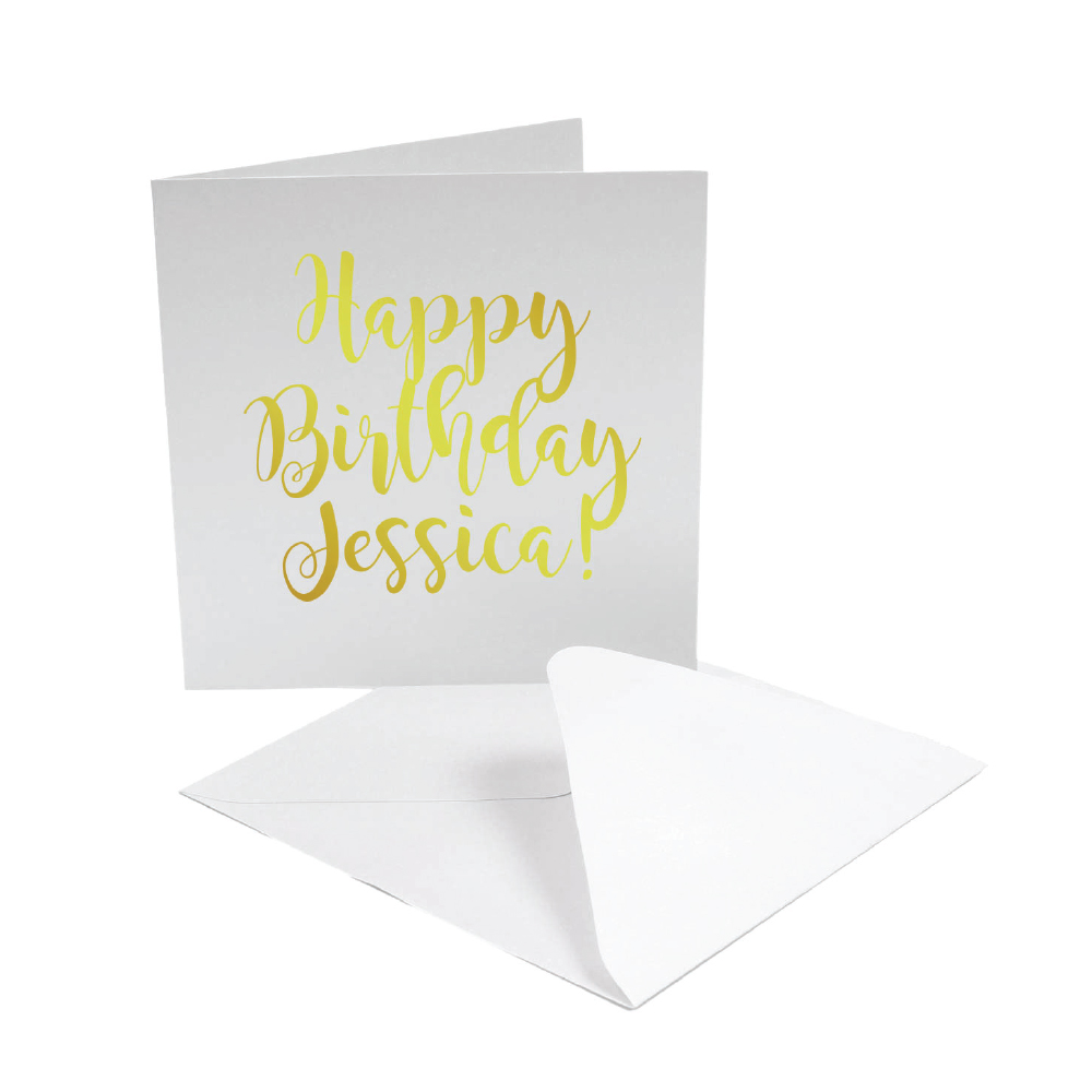 Happy Birthday Jessica Card in gold writing made with Forever Multi-Trans Select Gold Paper
