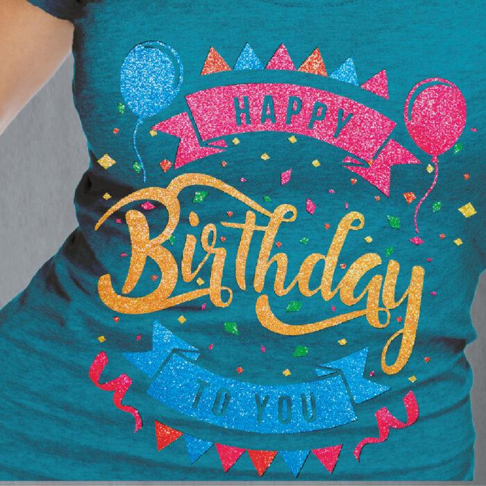 Happy Birthday glitter design on blue shirt made with Forever Subli-Dark (No-Cut) Glitter Paper