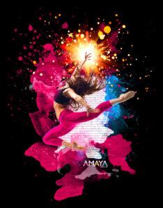 Black graphic image of dancer with pain splashes and Amaya Sales UK Logo