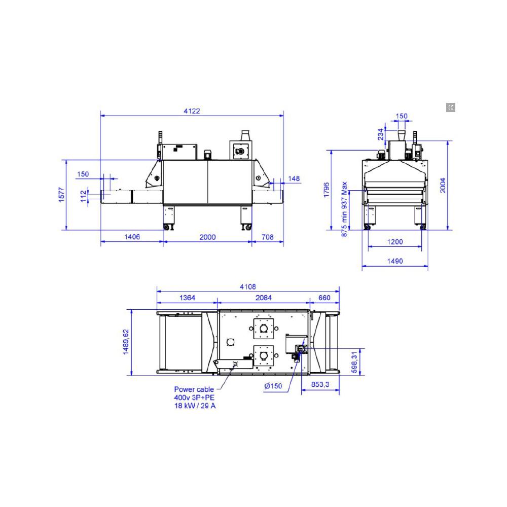 Chiossi e Cavazzuti Dual 1200 Textile Dryer Diagram