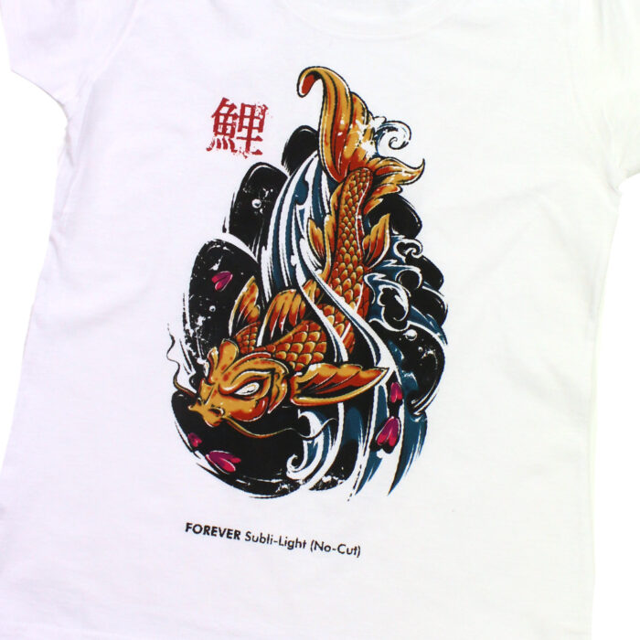 White shirt with Chinese Koi fish design made with Forever A3 Subli-Light Paper