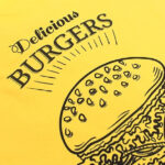 Black Burger design on yellow fabric made with Forever A3 Subli-Light Paper