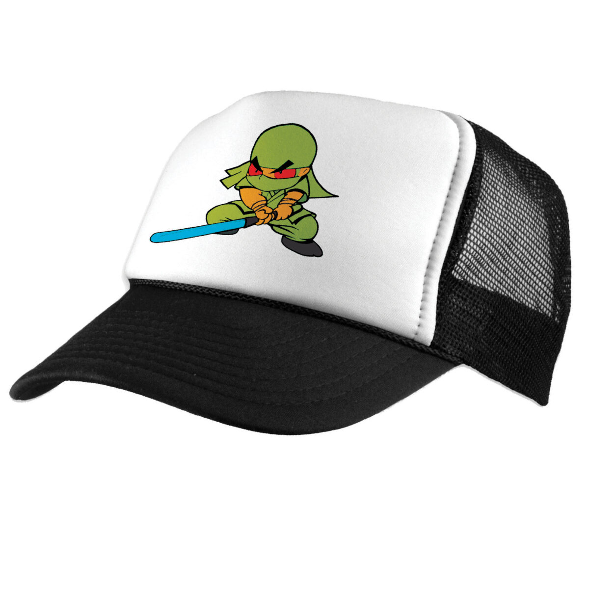 White and Black Hat with Ninja design printed with Forever Classic and Universal Paper on white background