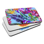 Set of floral Mousemats printed with Forever Classic and Universal Paper on white background