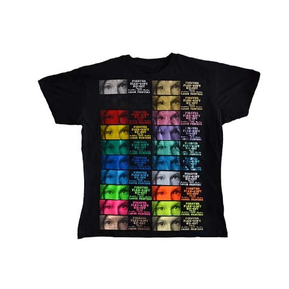 Black shirt with Forever Flex Soft (No Cut) Metallic and Neon colour chart