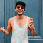 Man in Blue Ice cream design vest printed using Forever Laser Light No Cut Paper