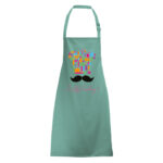 Green Apron with chef moustache design printed using Forever Laser Transparent Paper on white background