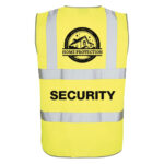 High Vis Vest with Security and Home Protection design printed using Forever Laser Transparent Paper on white background