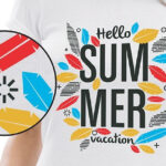 Hello summer print shirt and close up using Forever Subli-Light (No Cut) Paper