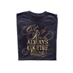 Rock print design on black t-shirt using gold Forever Hot Stamping Foils
