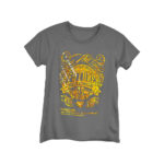 Grey T-shirt with printed design using Cubism Gold Forever Hot Stamping Foil
