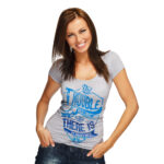 Woman in grey shirt with blue music themed design printed with Forever Hot Stamping Foils