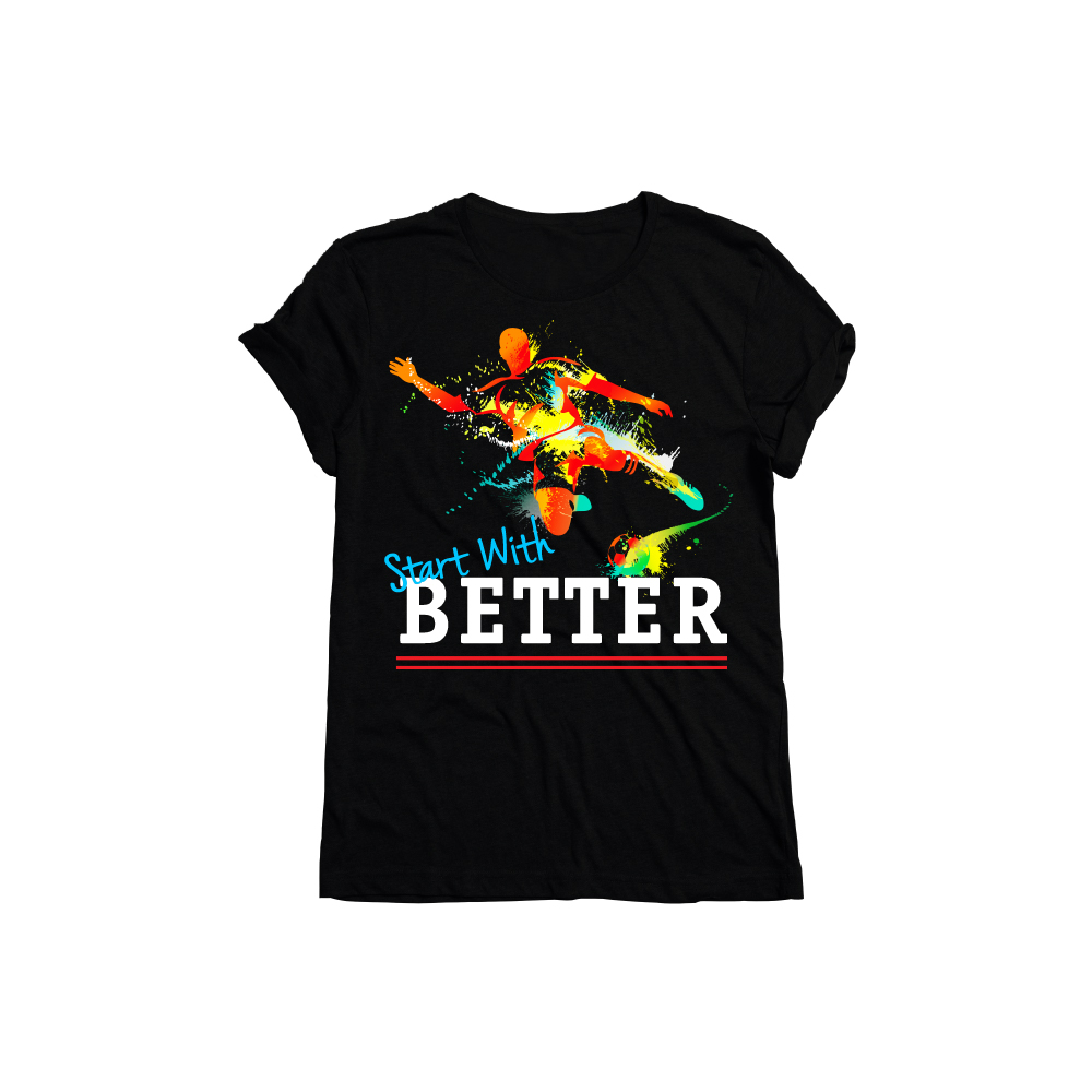 Black T-shirt with Sports design printed using Forever Laser Dark No Cut Paper