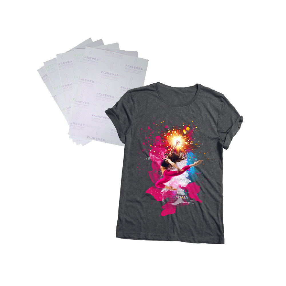Grey T-shirt with dancer print and Forever Laser Dark No Cut papers collage on white background