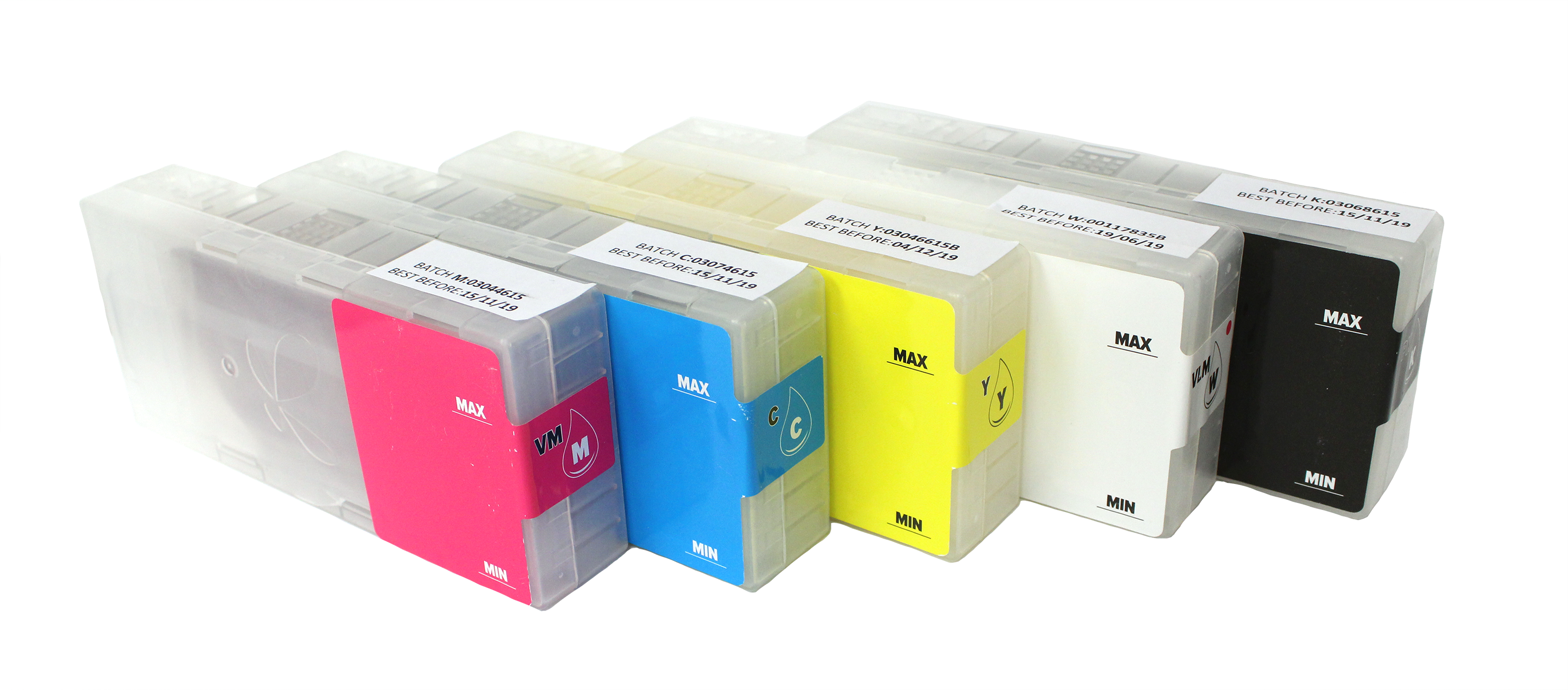Texjet Echo2 Direct to Garment Dupont Artistri Ink Cartridges on transparent background