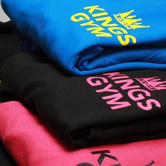 Gym sweatshirts printed with Sef Maxxflex Neon Vinyl