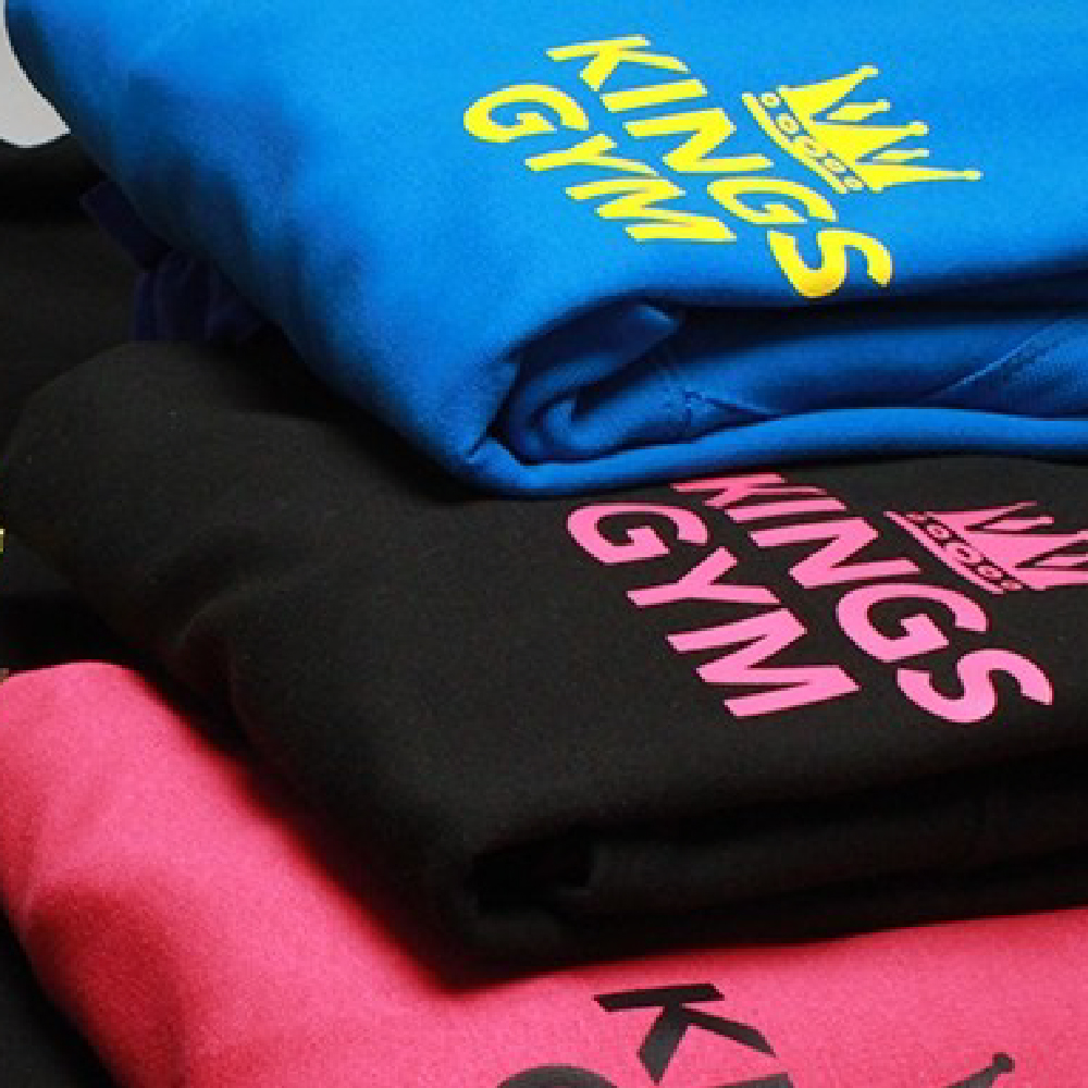 Gym sweatshirts printed with Sef Maxxflex Neon Vinyl