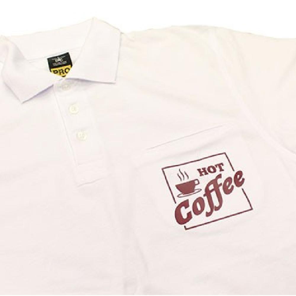 White Shirt with hot coffee logo using Maxxflex standard colours