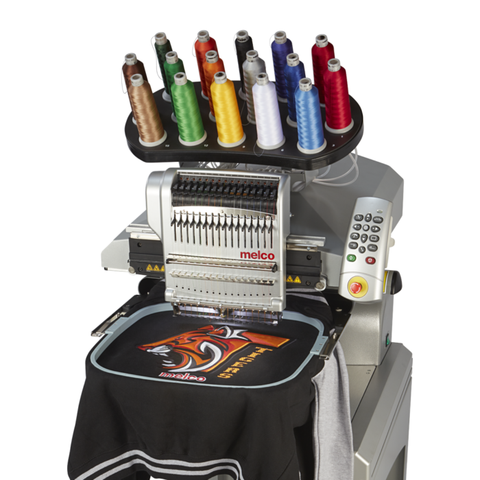 Melco EMT16X Embroidery Machine with Black tiger design jacket