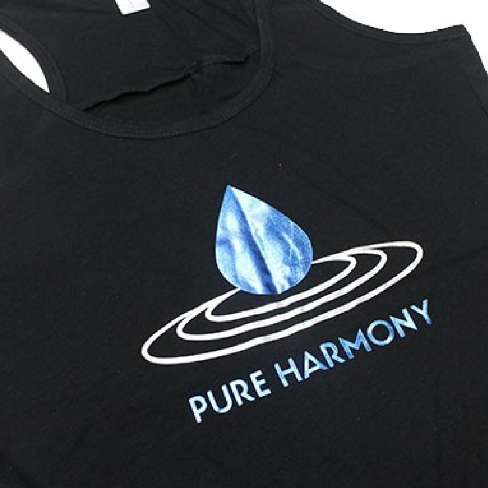 Black Shirt with pure harmony logo using Sef Metalflex Vinyl