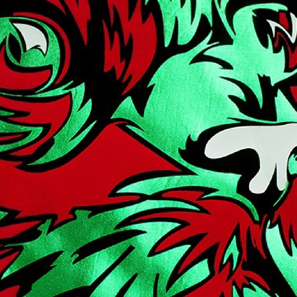 Green red and black design made with Sef Metalflex Vinyl