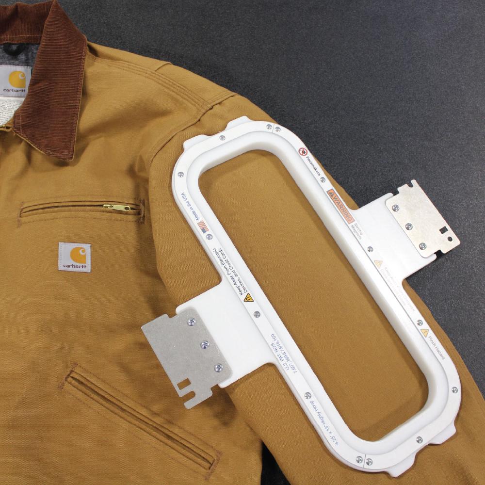 Melco Mighty Hoop 4.25x13 on jacket sleeve