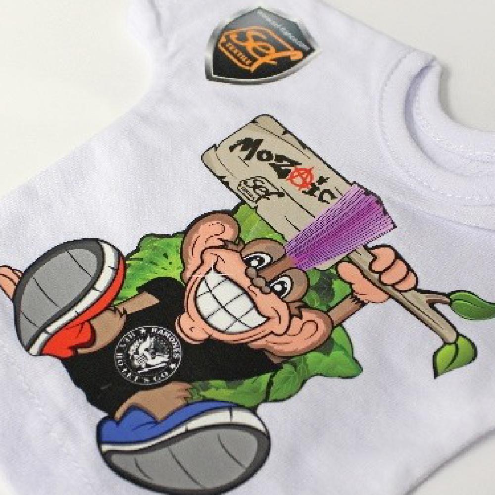 Monkey Logo on white shirt made with Sef Mozaic Vinyl