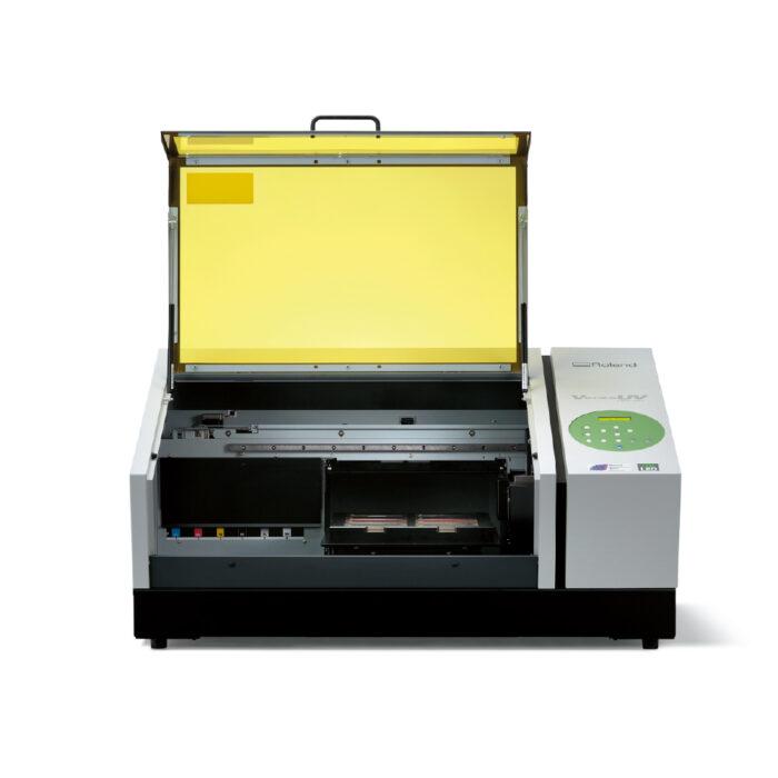 Roland LEF-12I Versa UV Flat Bed Printer with lid open
