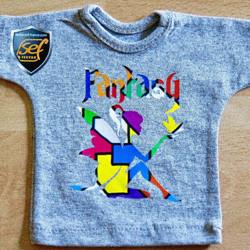 Grey shirt with fairy design made with Sef Fantasy Flex Barcelona Vinyl