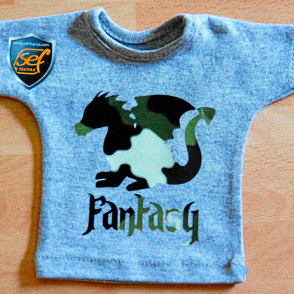 Small grey shirt with dragon design made with Sef Fantasy Flex Camo Vinyl