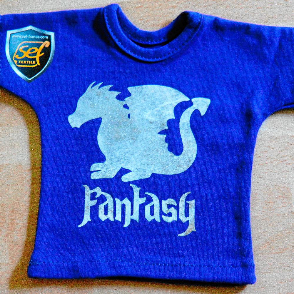Blue shirt with dragon design made with Sef Fantasy Flex Morning Cloud Vinyl
