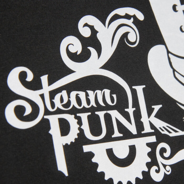 White Steam Punk design on shirt made with Sef Flex Cut Sticky Glow In The Dark Vinyl