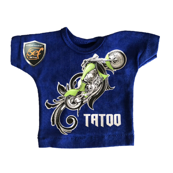 Blue shirt with motorbike design made with Sef Tatoo Classic Vinyl 75 cm