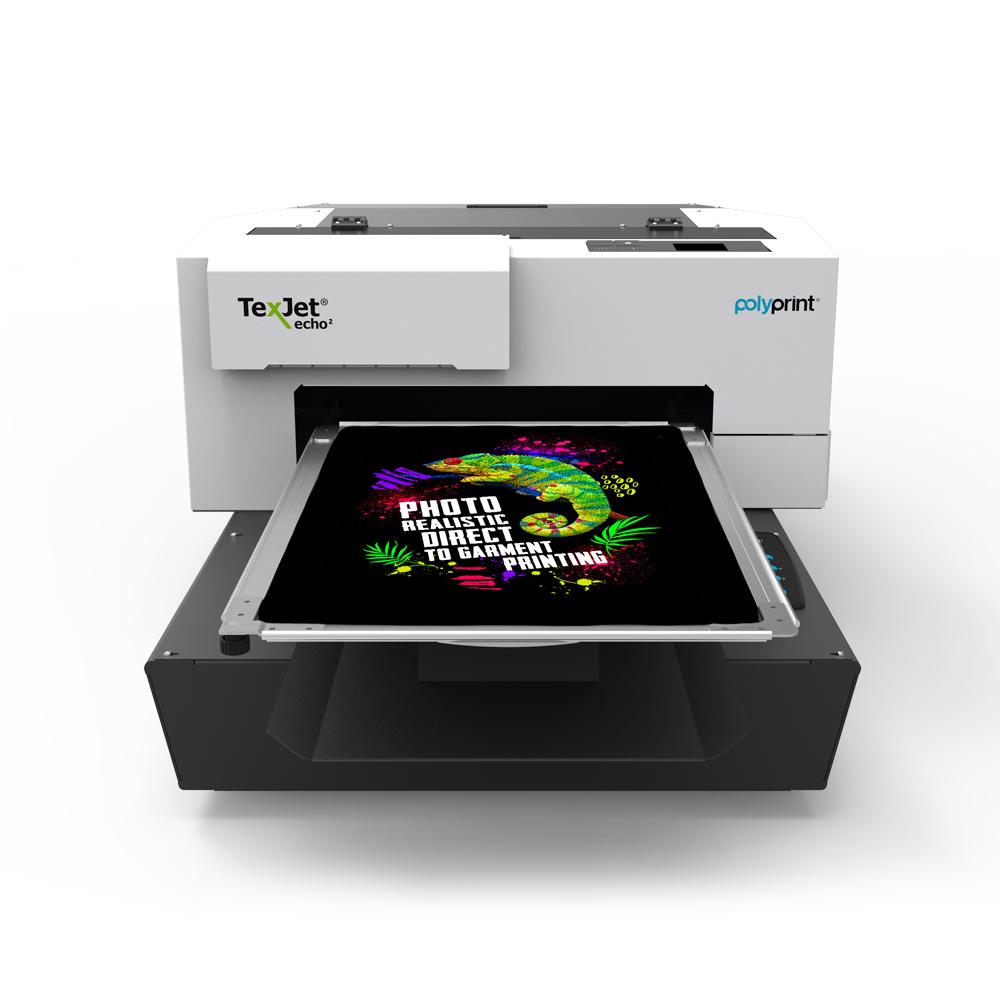 Texjet Echo2 direct to garment printer with gecko design
