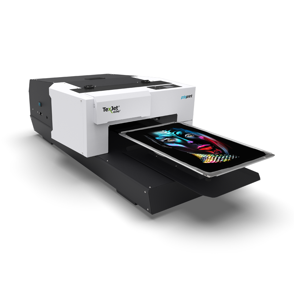 Texjet Echo2 direct to garment printer with black face beauty design