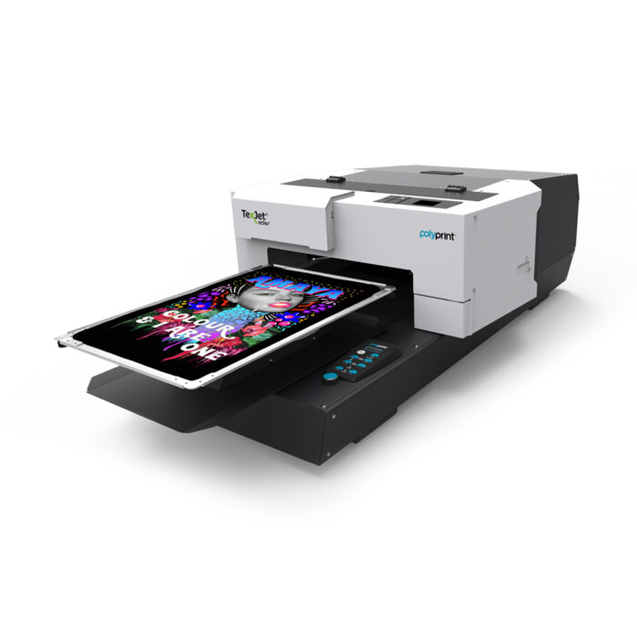 Texjet Echo2 direct to garment printer with groovy design