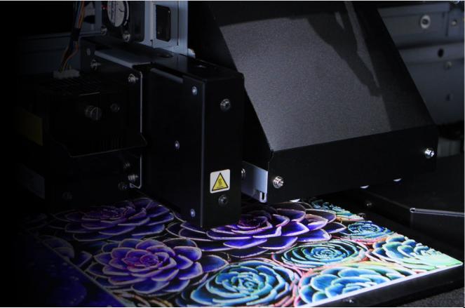 Roland Versa UV Flat Bed Printer printing flower design