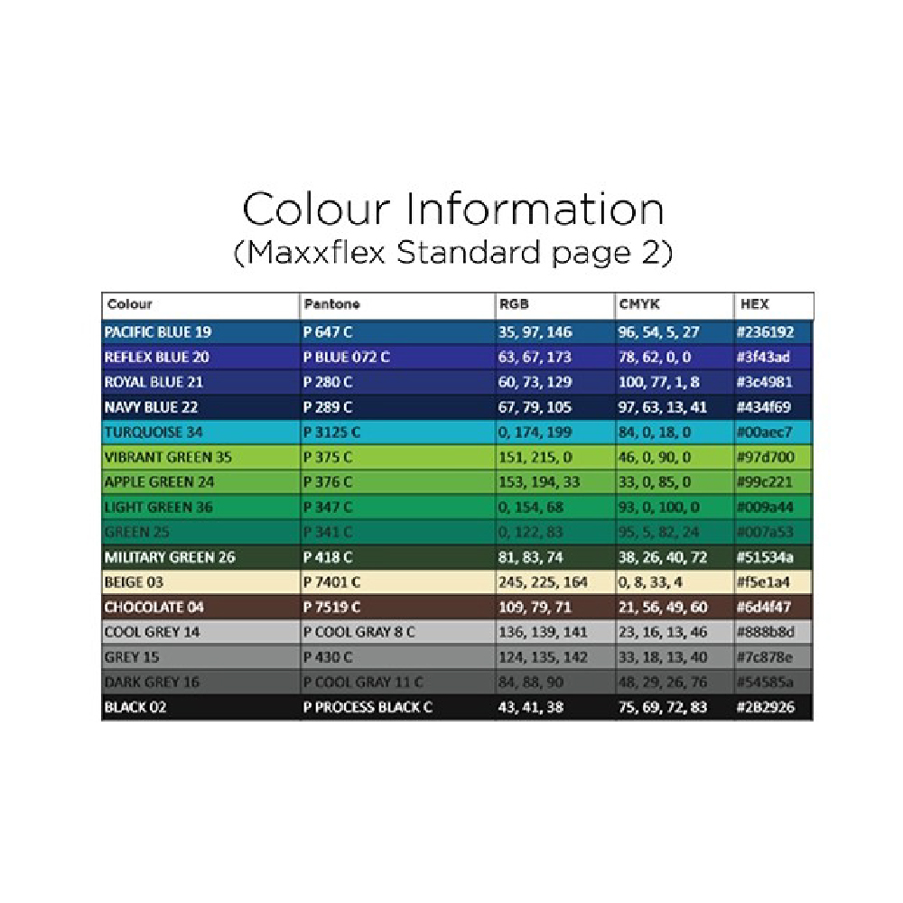 Sef Maxxflex Vinyl Colour Chart