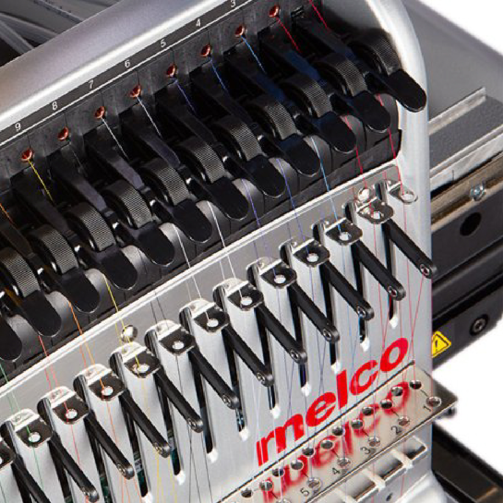 Melco EMT16X Embroidery Machine showing Acti Feed