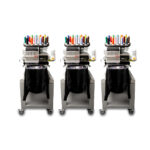 Melco EMT16X Three Head Embroidery Machine with garments