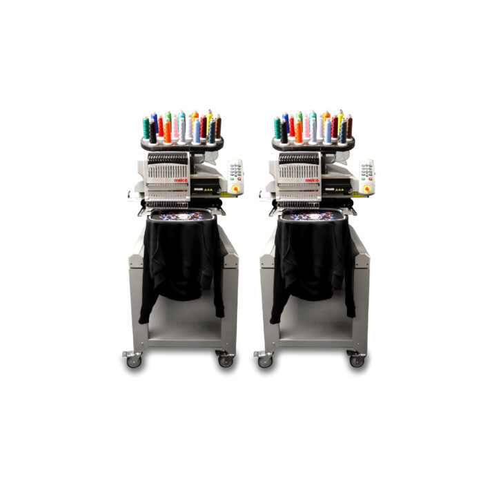 Melco EMT16X Two Head Embroidery Machine with garments