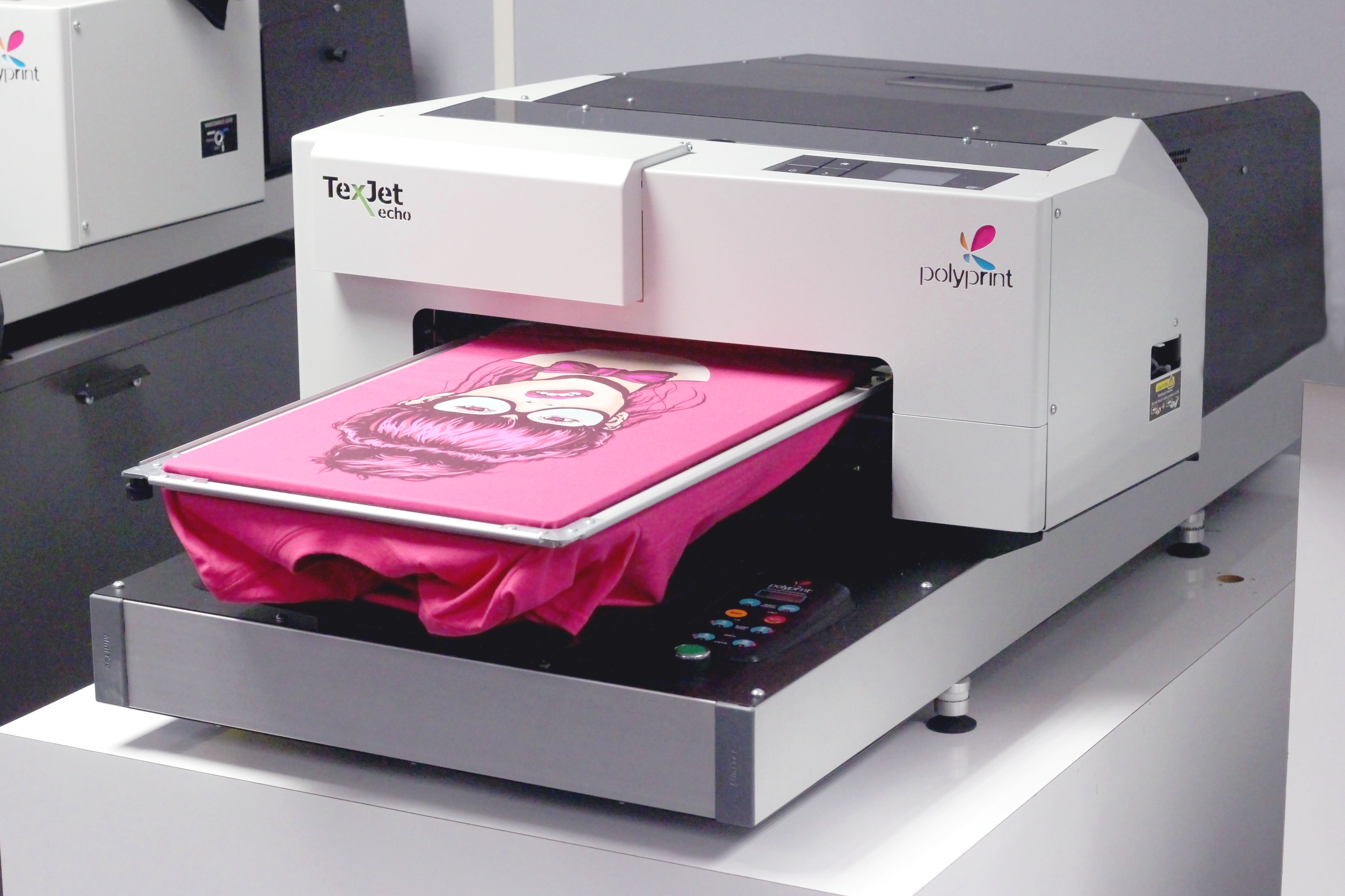 Texjet Echo2 Direct to Garment Printer with pink garment