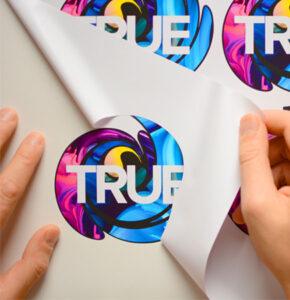 True Print Die Cut labels being peeled, printed using Roland True Vis VG2 Printers