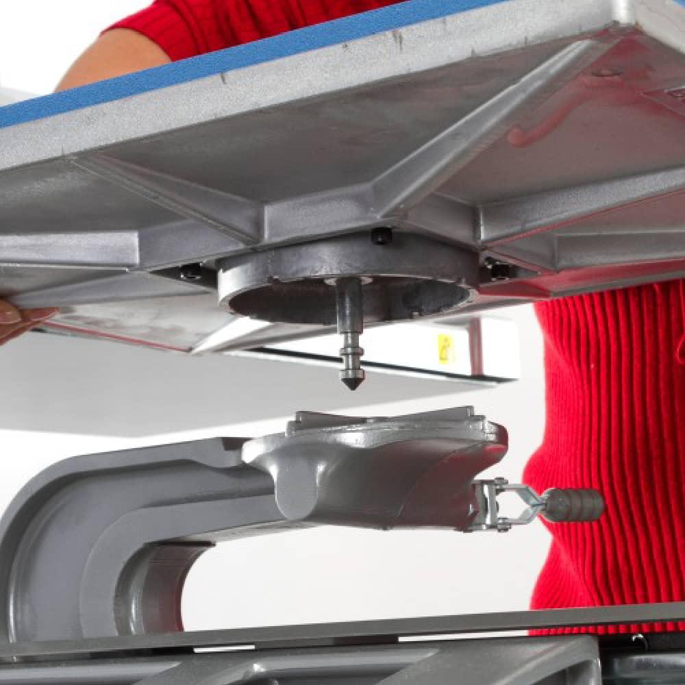 Placing Platen onto Stahls Hotronix Fusion IQ Heatpress