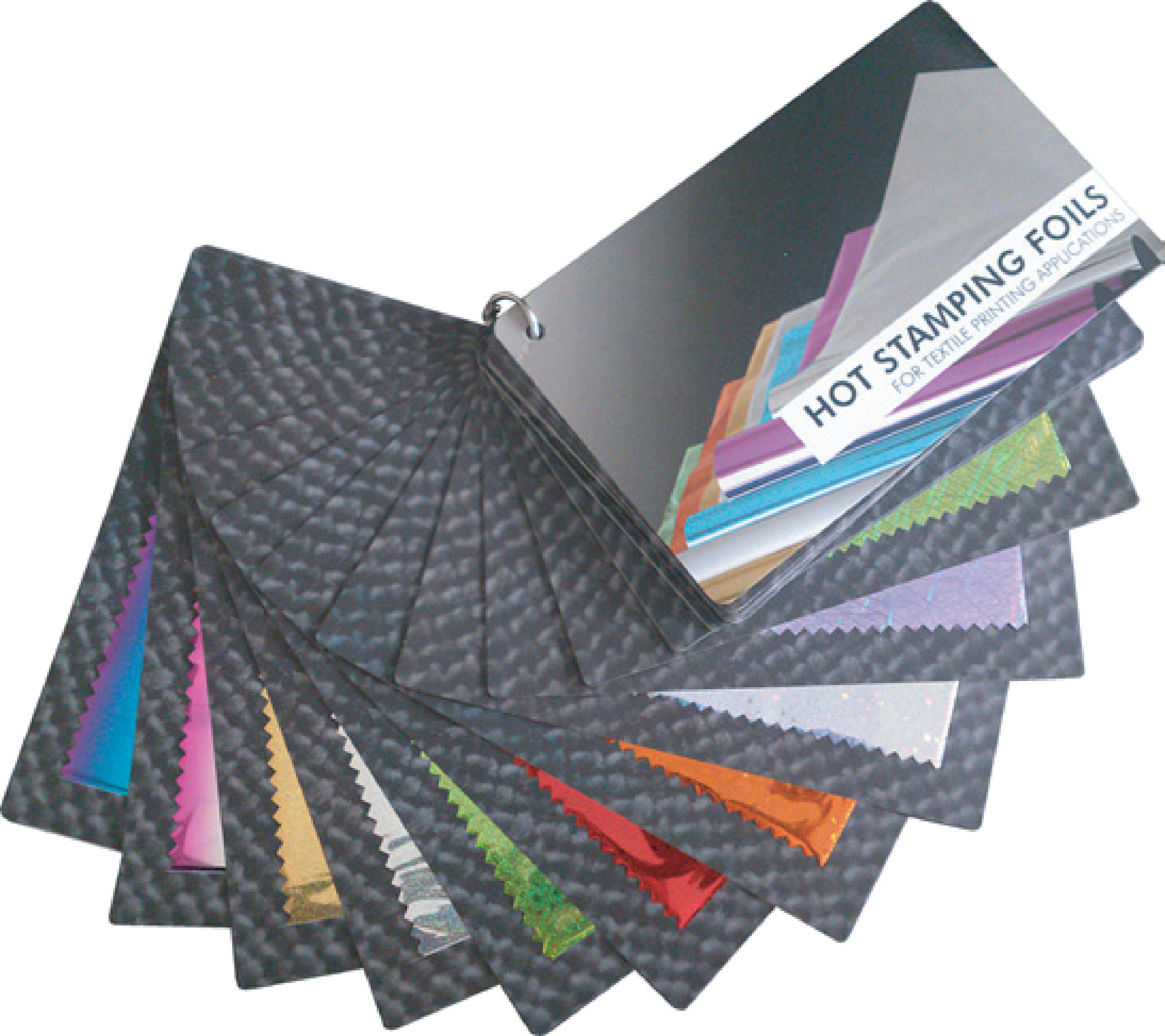 Forever Hot Stamping Foils Swatch cards on transparent background